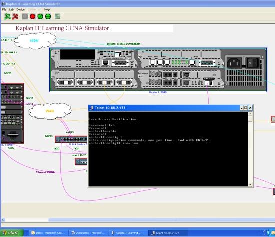 Simulator console window.