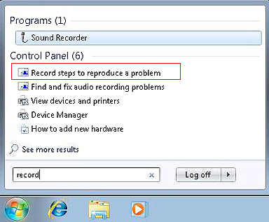 Choose the Record steps to reproduce a problem option